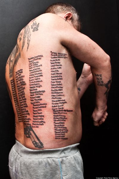 Brit Gets Tattooed With Names of Every British Soldier Killed in Afghanistan